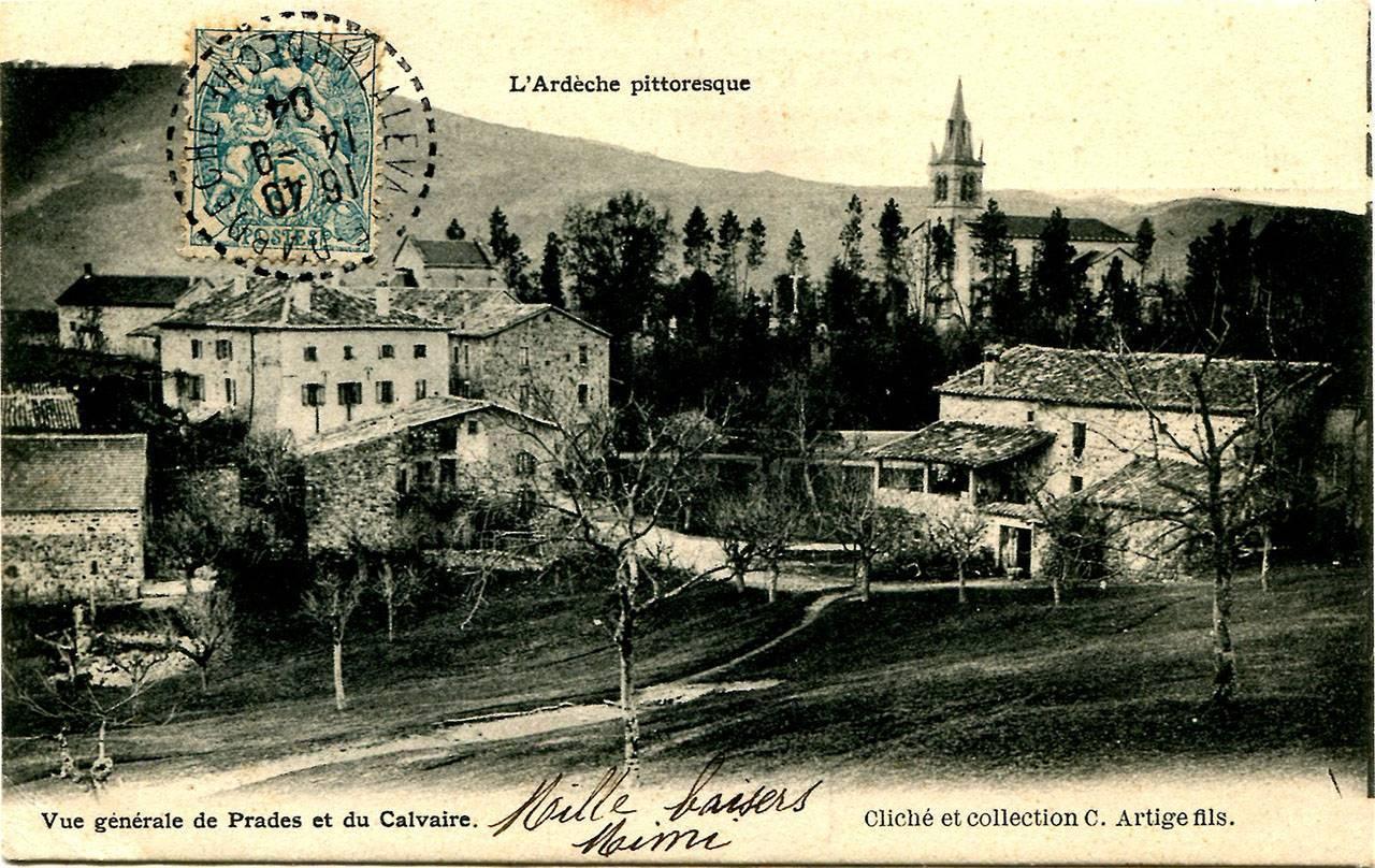 Vue générale de Prades et du Calvaire, avant 1904